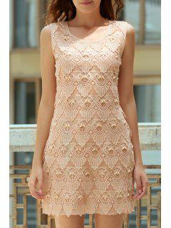 Lace Spliced Beading Round Neck Sleeveless Dress - Apricot
