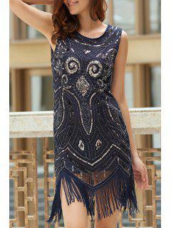 Fringe Sequined Beaded Round Neck Sleeveless Dress - Purplish Blue