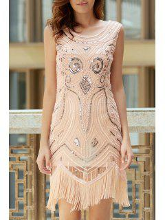 Tassels Sequin Beaded Round Neck Sleeveless Dress - Apricot