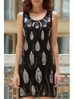 Feder-Muster Pailletten Scoop Neck Sleeveless Kleid - Schwarz