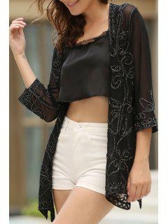 Beaded See-Through Collarless 3/4 Sleeve Blouse - Black