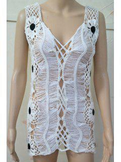 V-Neck Hollow Out Cover-Up - White