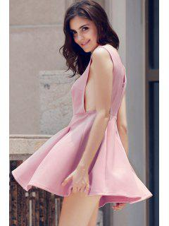 Solid Color Plunging Neck Sleeveless Flare Dress - Pink Xl