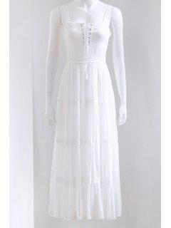 Lace Up Bretelles Spaghetti Couleur Unie Maxi Dress - Blanc