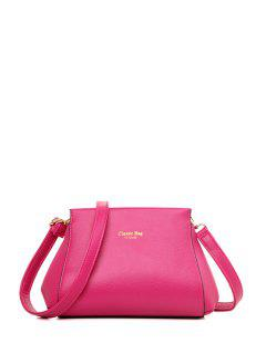 Letter Print Solid Color Crossbody Bag - Rose