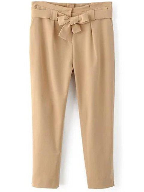 women Soild Color Belted High Waist Pant - KHAKI L Mobile
