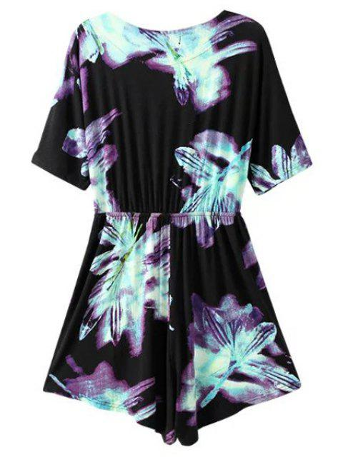 chic Ombre Printed Plunging Neck Short Sleeve Romper - BLACK S Mobile