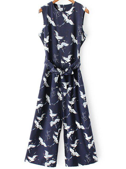outfits Printed Round Collar Sleeveless Belted Jumpsuit - PURPLISH BLUE S Mobile