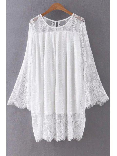 shops Hollow Out Long Sleeve Lace Dress - WHITE S Mobile