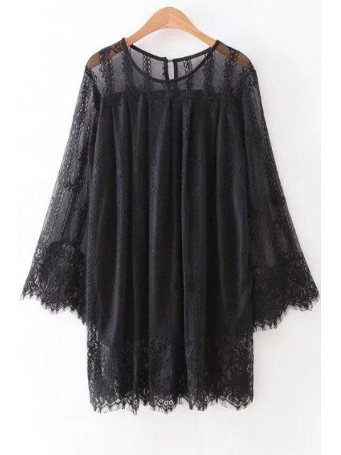 new Hollow Out Long Sleeve Lace Dress - BLACK M Mobile