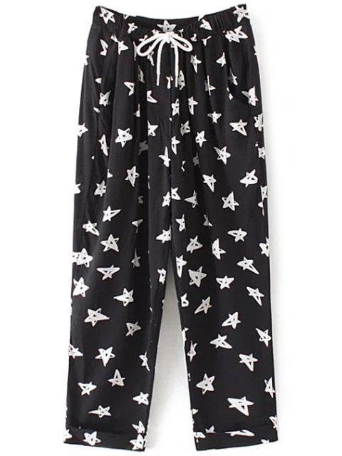 shop Drawstring Pentagram Print Pants - BLACK S Mobile