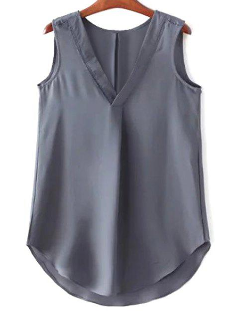 trendy Solid Color V-Neck Chiffon Tank Top - GRAY L Mobile