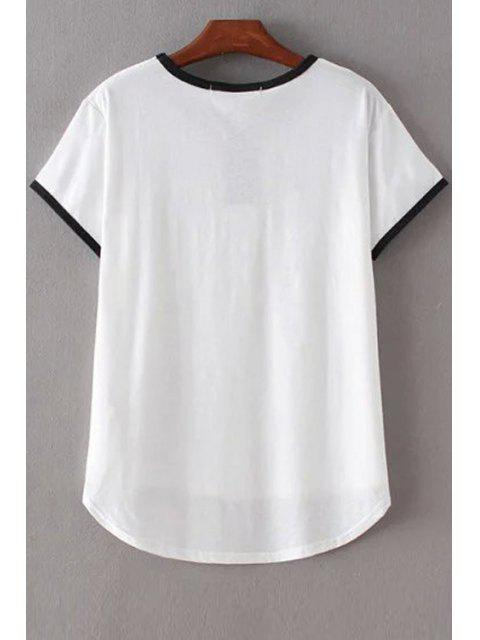 online Angle Print Round Neck Short Sleeve T-Shirt - WHITE M Mobile
