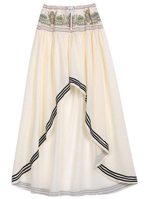women's High Low Hem Drawstring Skirt - OFF-WHITE S Mobile