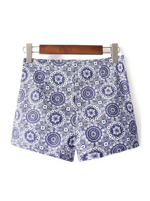 unique Ethnic Style Printed High Waist Shorts - BLUE S Mobile