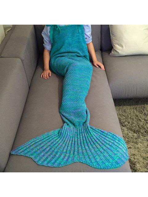 shops Knitted Mermaid Design Sleeping Bag Blanket - LAKE BLUE  Mobile