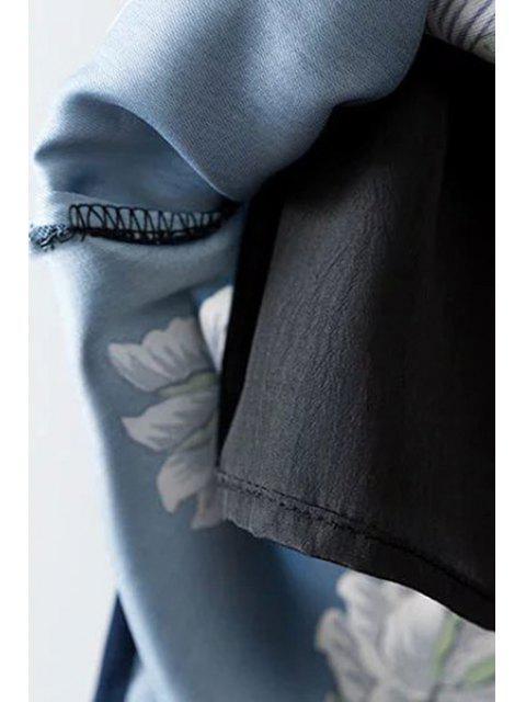 women Ethnic Style Printed High Waist Skirt - BLUE L Mobile