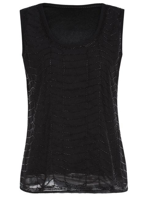best Black Beaded Round Neck Tank Top - BLACK ONE SIZE(FIT SIZE XS TO M) Mobile
