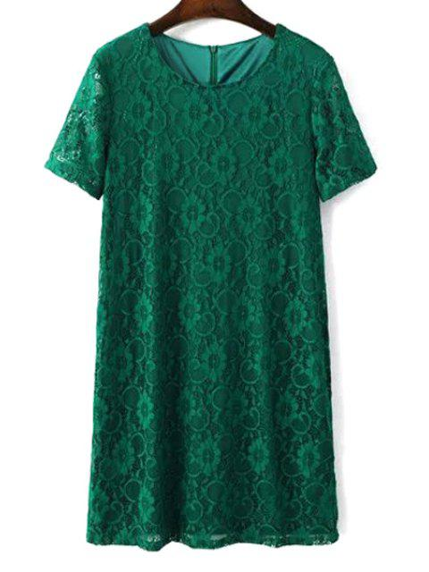 women's Solid Color Short Sleeve Round Collar Lace Dress - GREEN L Mobile