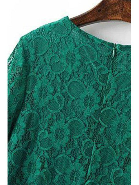 womens Solid Color Short Sleeve Round Collar Lace Dress - GREEN S Mobile