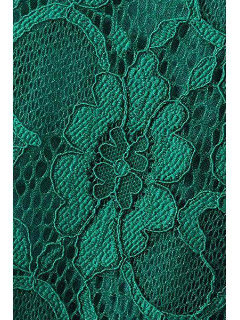 Robe en dentelle solide Collar couleur à manches courtes ronde - Vert L Mobile