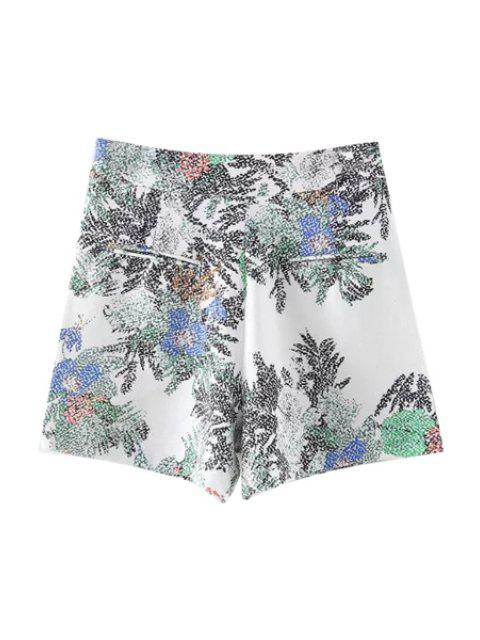 chic Printed Casual Pockets Shorts - WHITE L Mobile