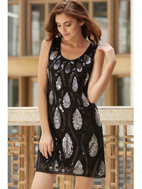 unique Feather Pattern Sequined Scoop Neck Sleeveless Dress - BLACK ONE SIZE(FIT SIZE XS TO M) Mobile