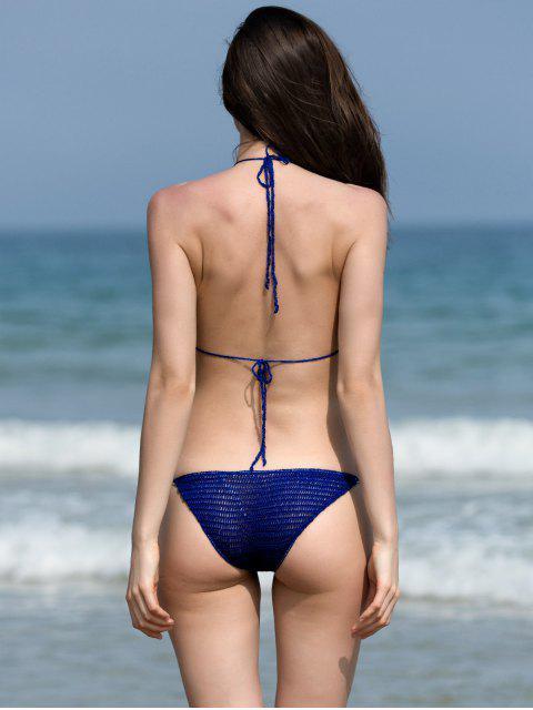 ladies Halter Crochet Beading Bikini Set - BLUE ONE SIZE(FIT SIZE XS TO M) Mobile