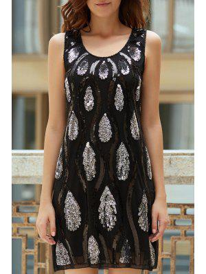Feather Pattern Sequined Scoop Neck Sleeveless Dress - Black