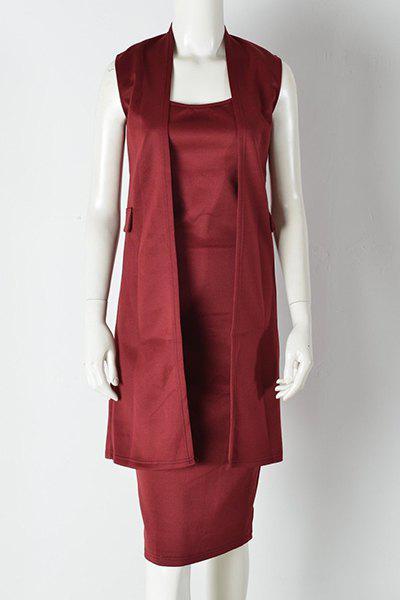 Vin rouge élégant mi-longues Robe sans manches pour les femmes