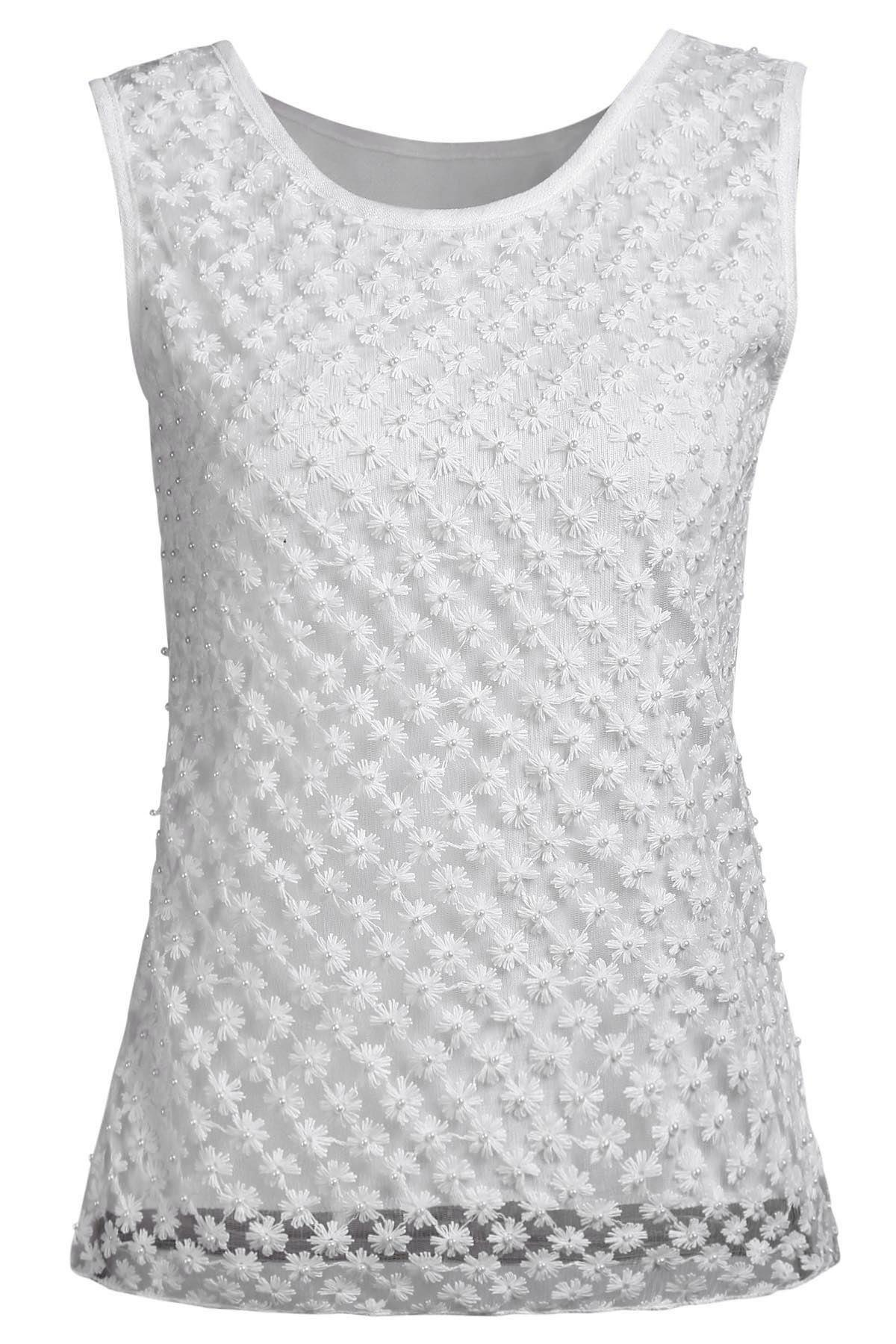 Solid Color Floral Beading Round Neck Tank Top - WHITE ONE SIZE(FIT SIZE XS TO M)