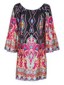 Flare Sleeve Printed Peasant Dress - L