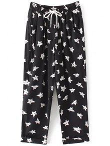Pentagram Con Cordón De Impresión Pantalones - Negro S