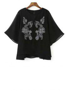 Embroidered Round Neck Bat-Wing Sleeve Chiffon Blouse - Black S