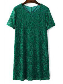 Solid Color Short Sleeve Round Collar Lace Dress - Green L
