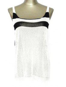 Striped Scoop Neck Cover Up - White