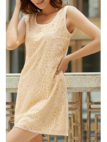 Floral Embroidery Round Neck Sleeveless Dress - Apricot