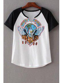 Eagle Print Round Neck Short Sleeve T-Shirt - White S