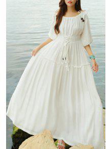 Lace Up Scoop Neck Half Sleeve Maxi Dress - White M