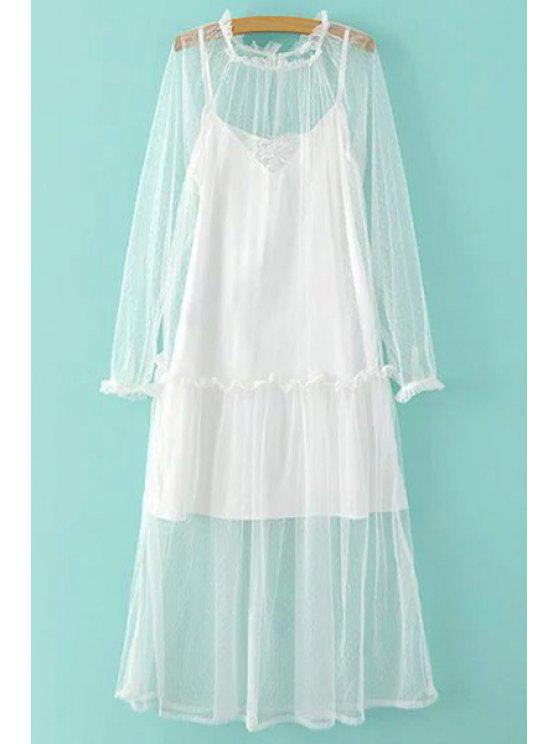 Sheer vestido de malla y Cami Slip vestido Twinset - Blanco L