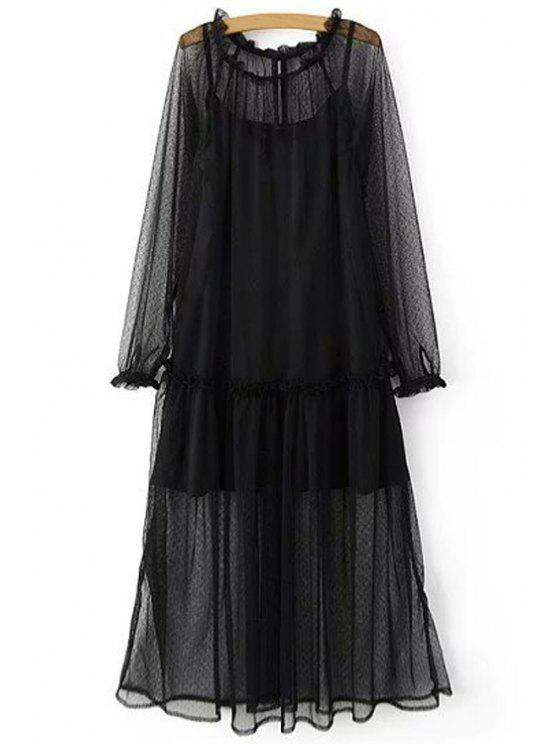 Deux pièces robe à bretelle réglable et robe transparente - Noir S