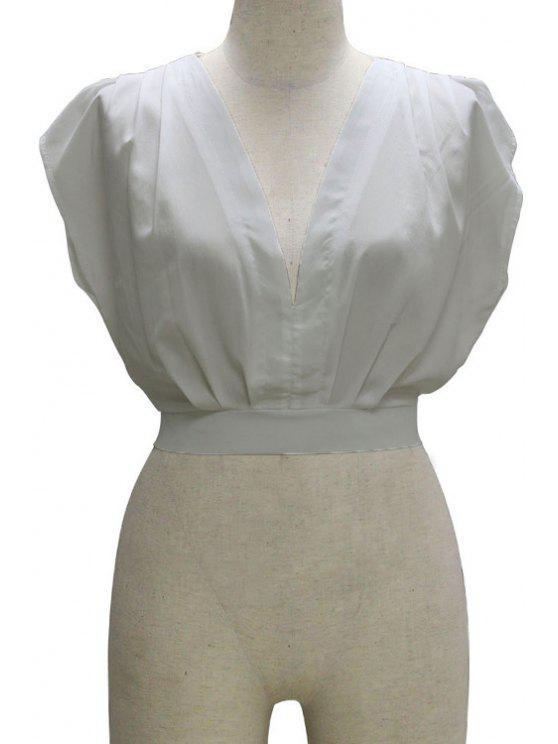 Débardeur Plongeant Neck Solid Couleur - Blanc L