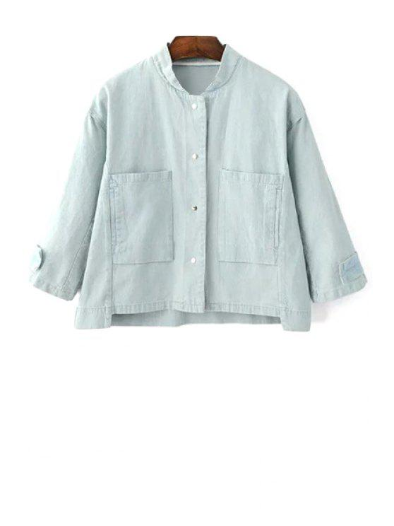 affordable Big Pocket Denim Jacket - LIGHT BLUE S