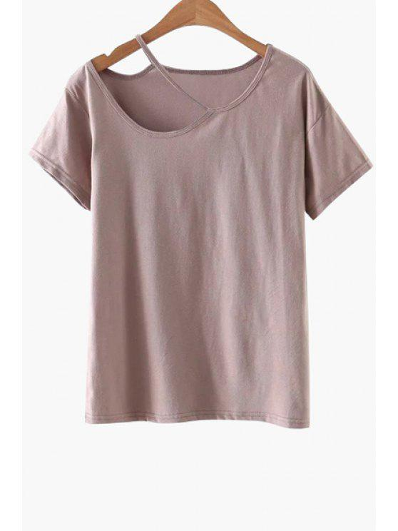 trendy Solid Color Cut-Out T-Shirt - PINK L