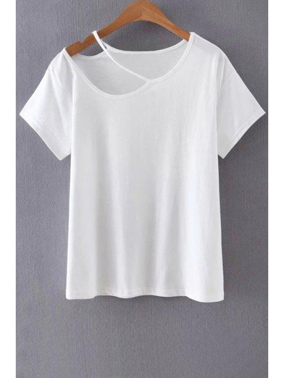 Solid Color Cut-Out-T-Shirt - Weiß M