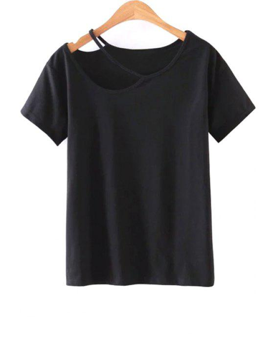 new Solid Color Cut-Out T-Shirt - BLACK M