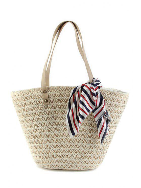 trendy Weaving Scarf Solid Color Shoulder Bag - APRICOT