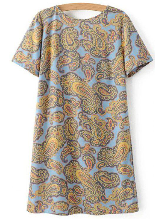 latest V-Back Paisley Print Tee Dress - COLORMIX M