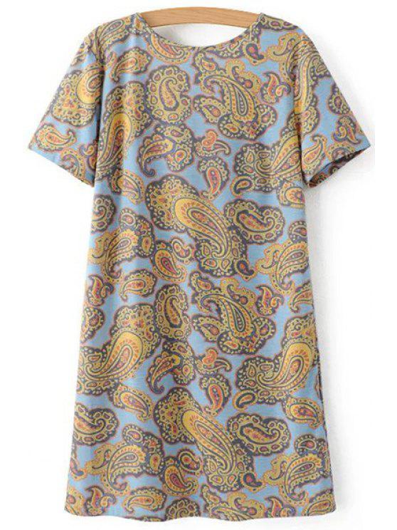 trendy V-Back Paisley Print Tee Dress - COLORMIX L