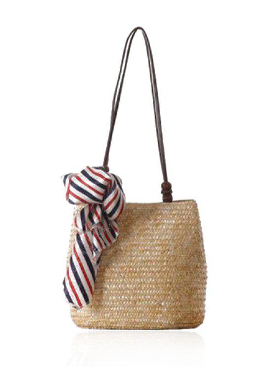 outfit Scarf Weaving Straw Shoulder Bag - OFF-WHITE